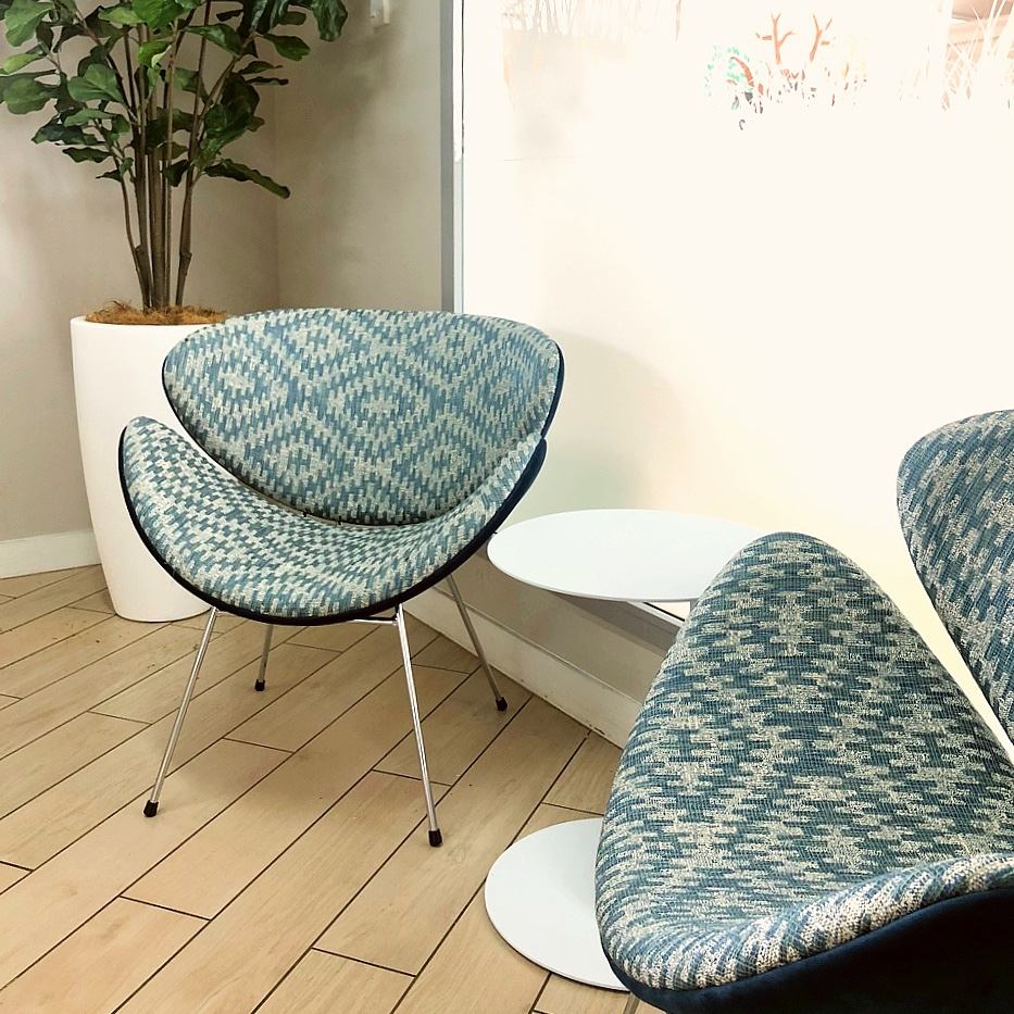custom made blue casual chairs in modern staff room with laminate floors and planter