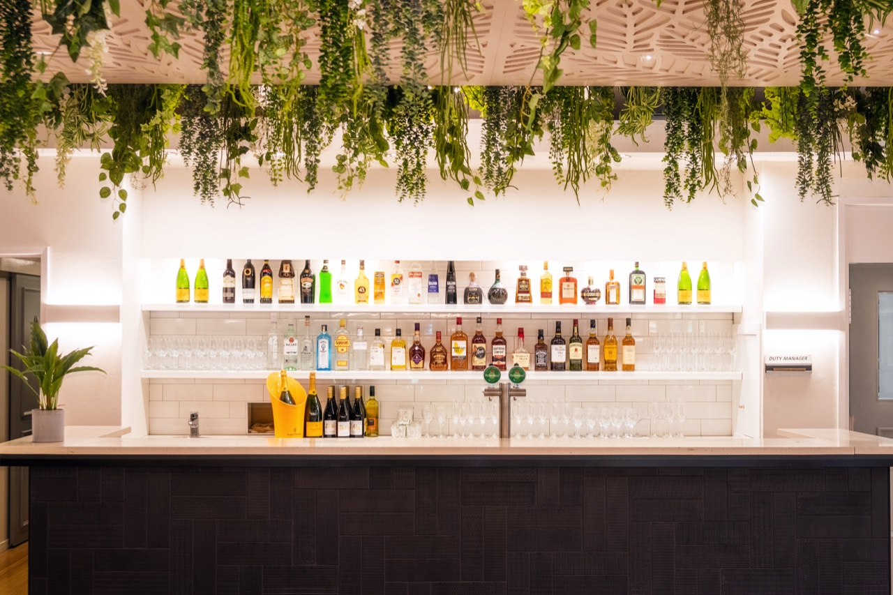 open bar with black tiles and hanging plants