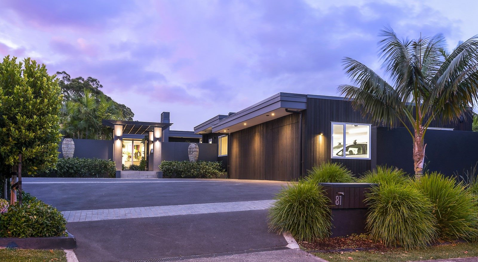 contemporary home exterior with modern lighting and dark paint colours