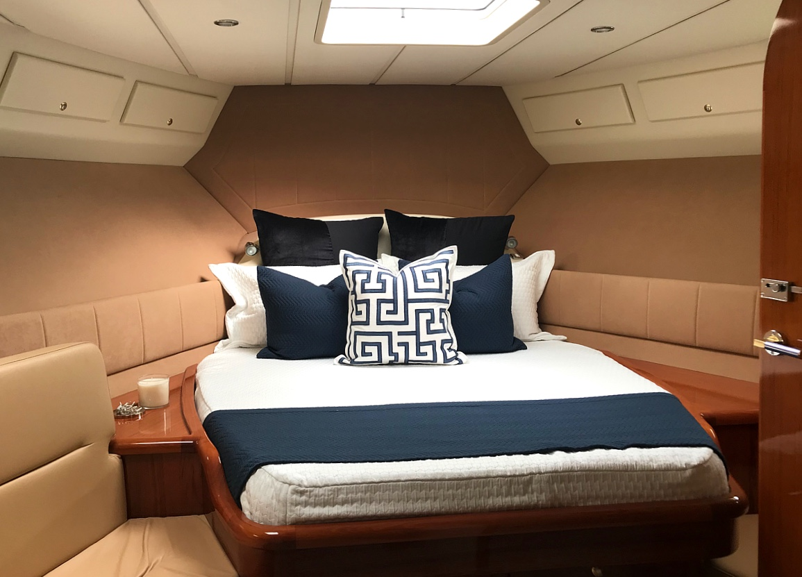 custom designed bedding for master bedroom on a yacht