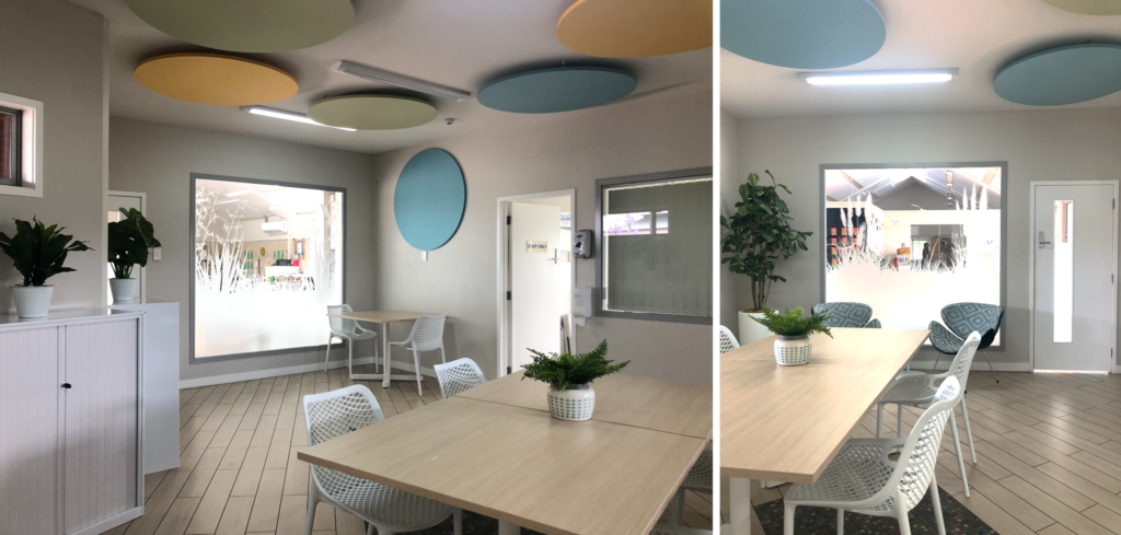 frosted white window decals in staff room with modern furniture