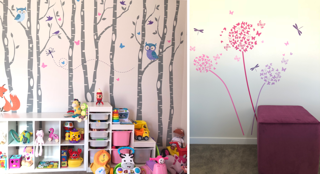 wall decals in family home kids playroom with trees and woodland animals