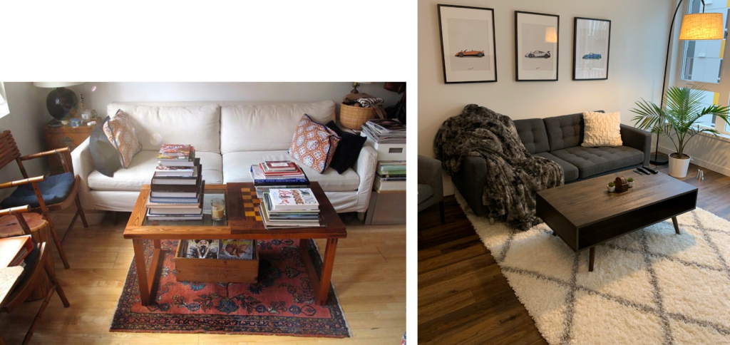 examples of rugs too small and wrong way round for the room