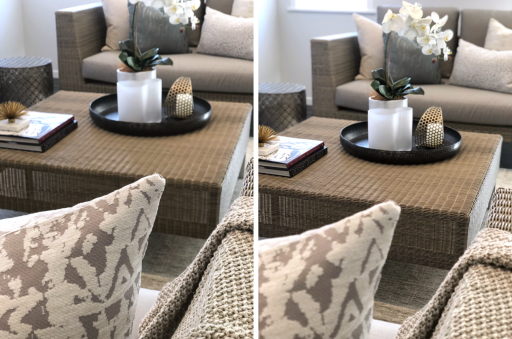 close up of cushions and styling of rattan furniture coffee table