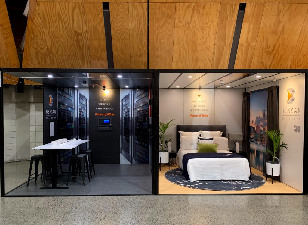 tradeshow stand with hotel bedroom layout