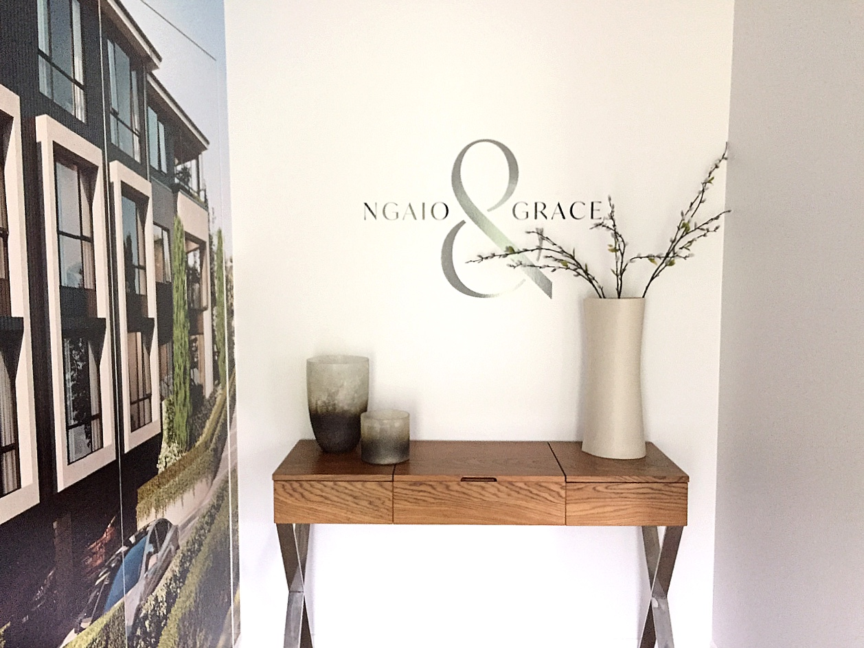 sales suite entrance hall with wall decals and styling