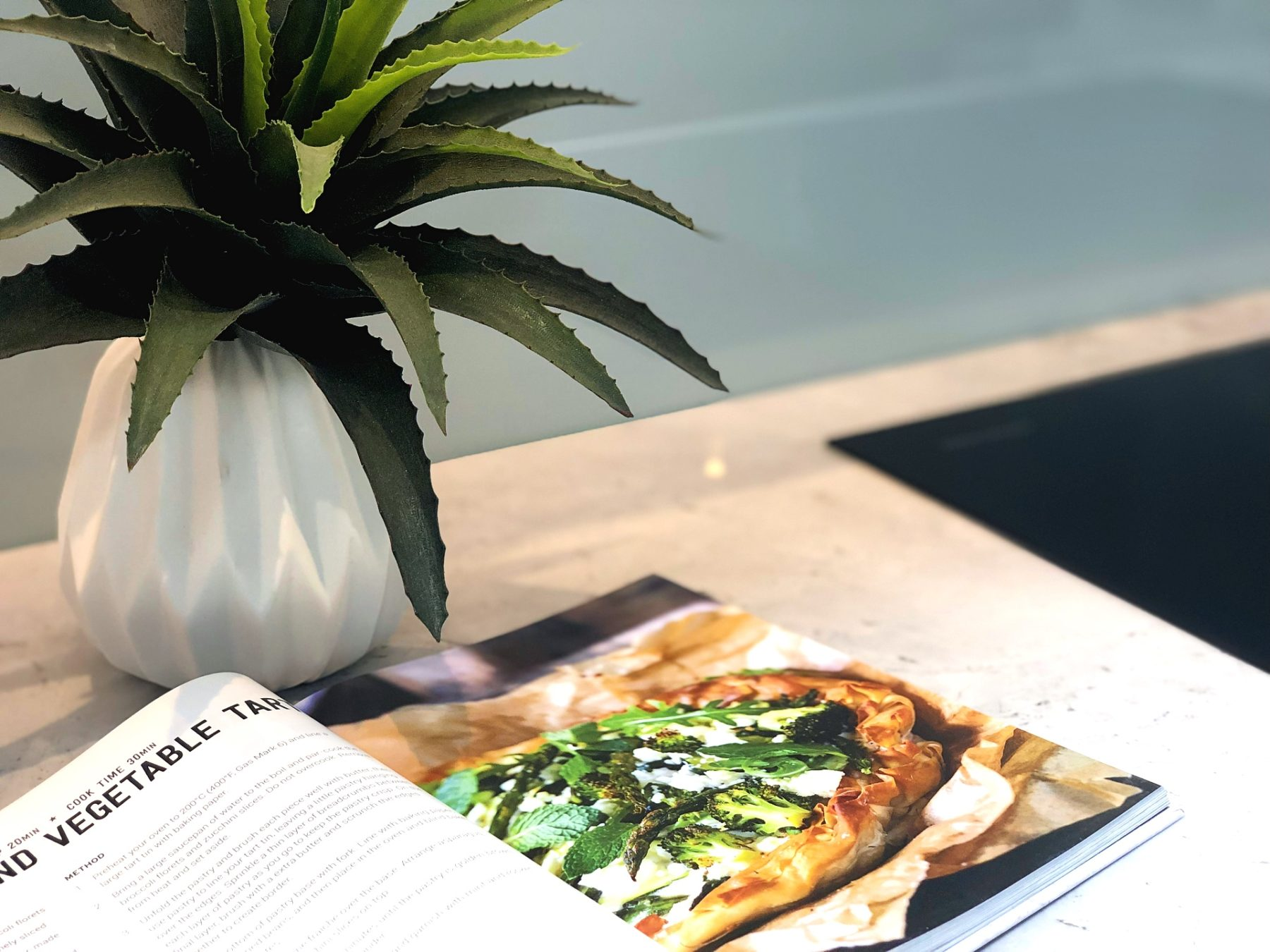plant and cookbook on kitchen bench