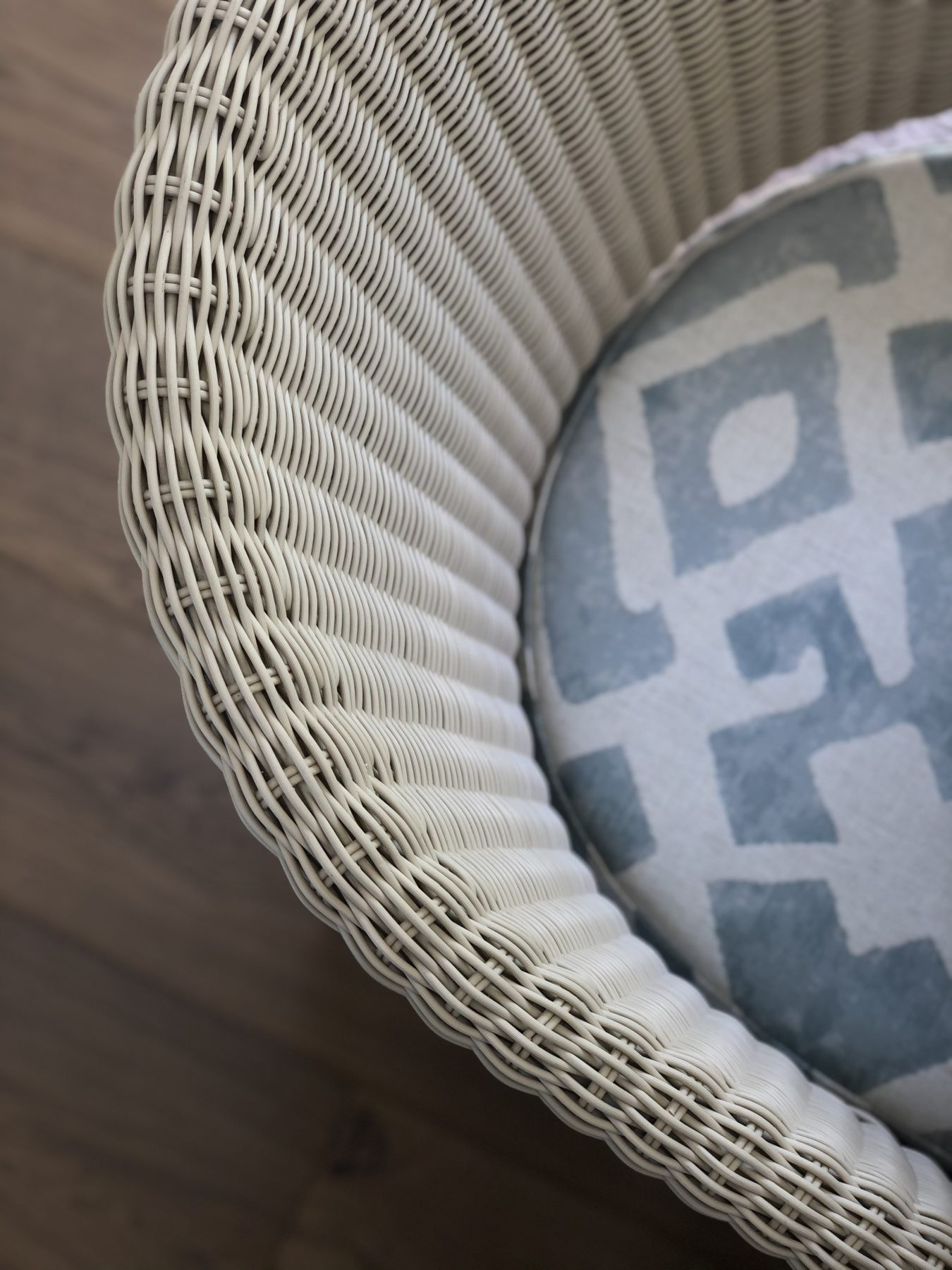 close up of woven chair