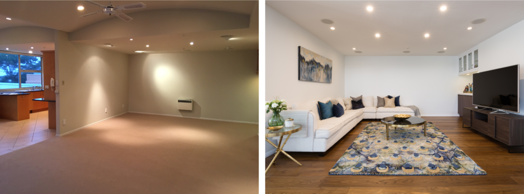 before after modern lounge with corner sofa, blue and gold accents