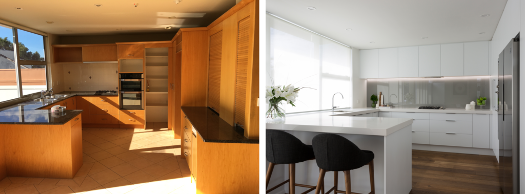 before and after modern white kitchen transformation with barstools