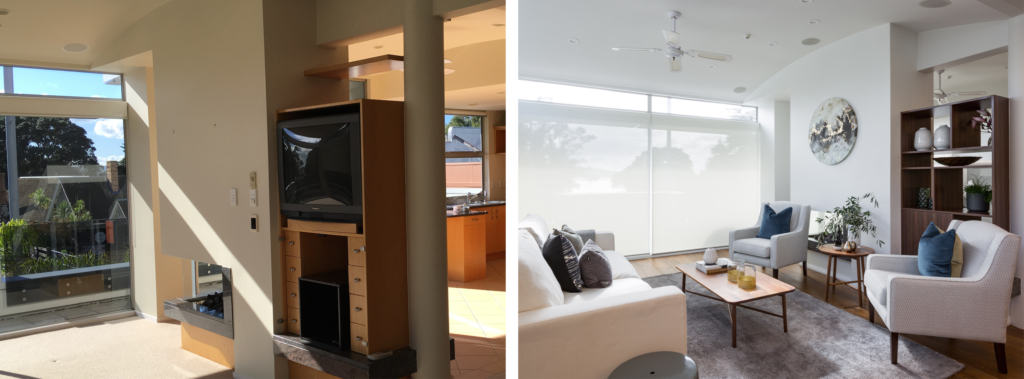 before and after of modern lounge with fireplace and built-in wood shelving