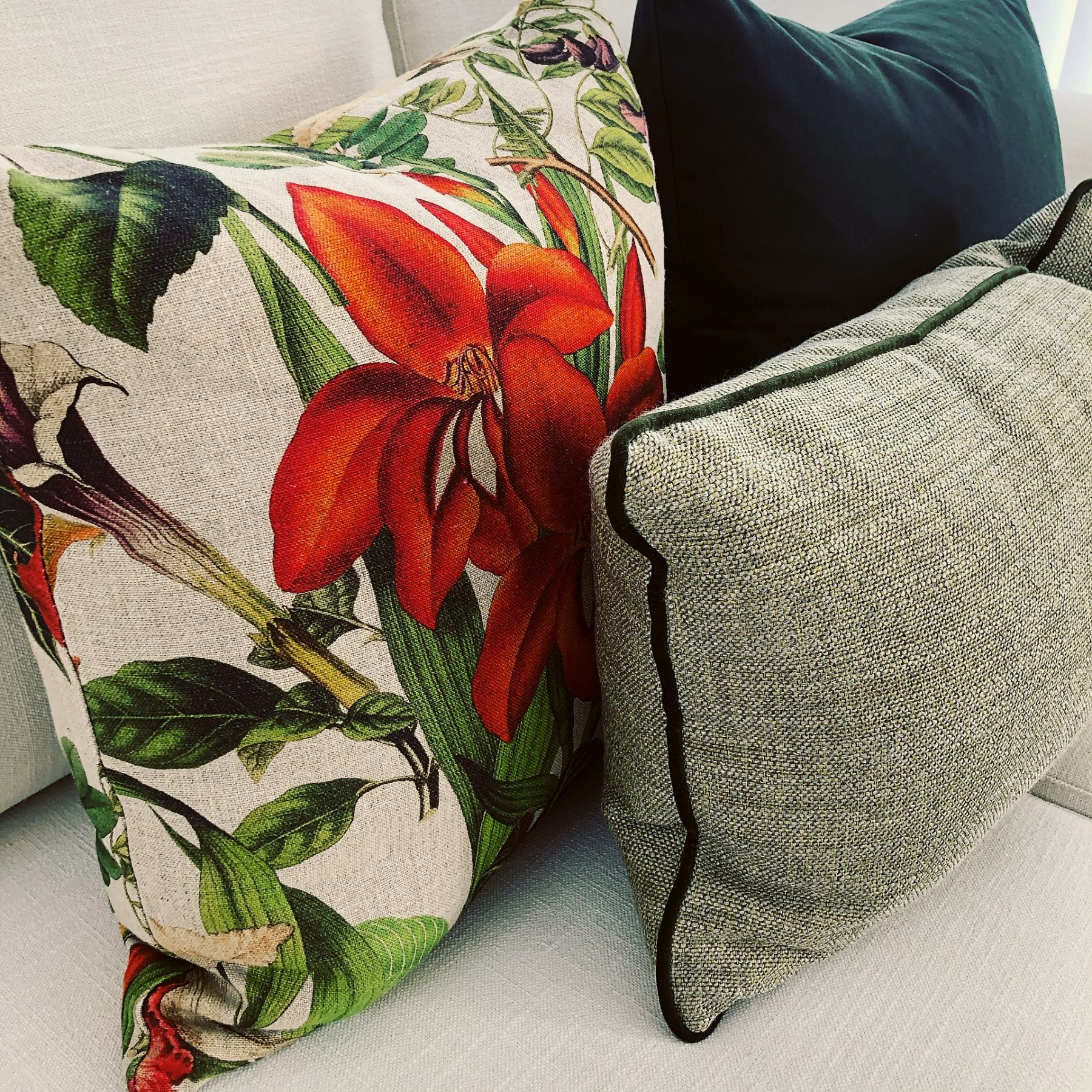 custom made lounge cushions with floral pattern