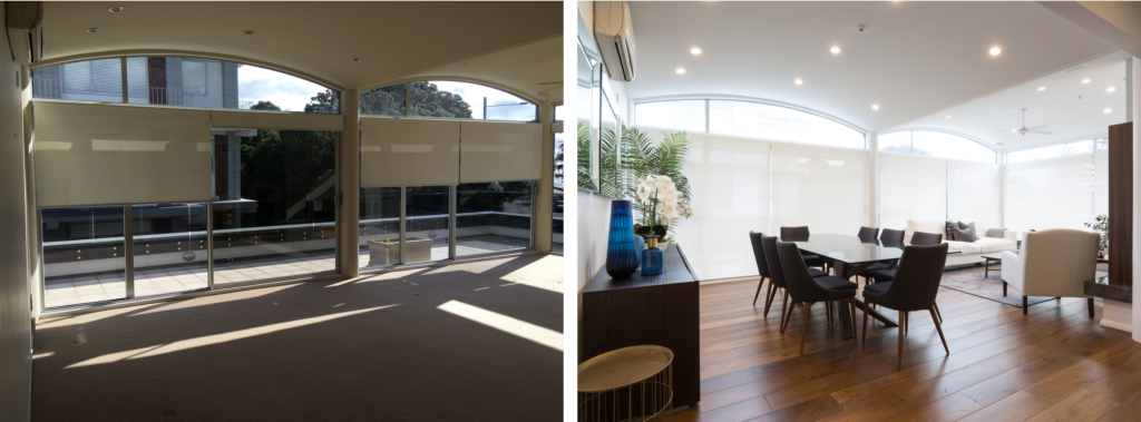 before and after of modern dining space with arch windows and wood floors