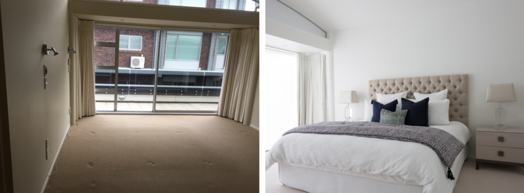 before and after of master bedroom with cream headboard and blue soft details
