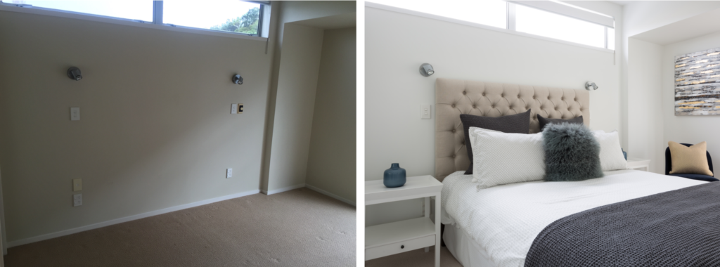 before and after of apartment bedroom with cream and grey tones