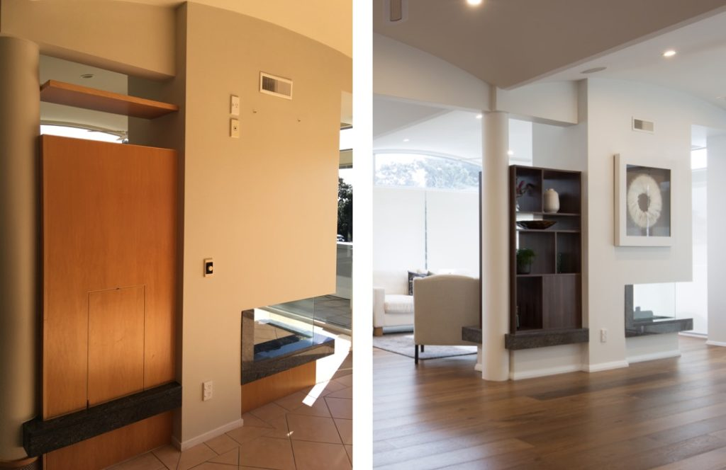 before and after of modern built-in shelving unit with open fireplace and wood floors