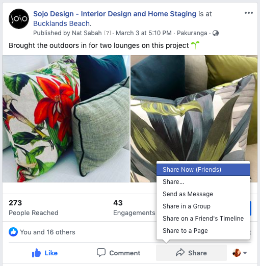 floral cushion arrangements on facebook using share function