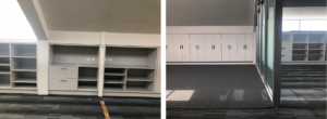 before and after modern office space with built in storage and glass doors
