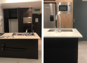 before and after modern kitchen with black and wood with white stone benchtop