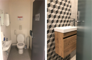 before and after modern small bathroom with wallhung vanity and geometric tiles
