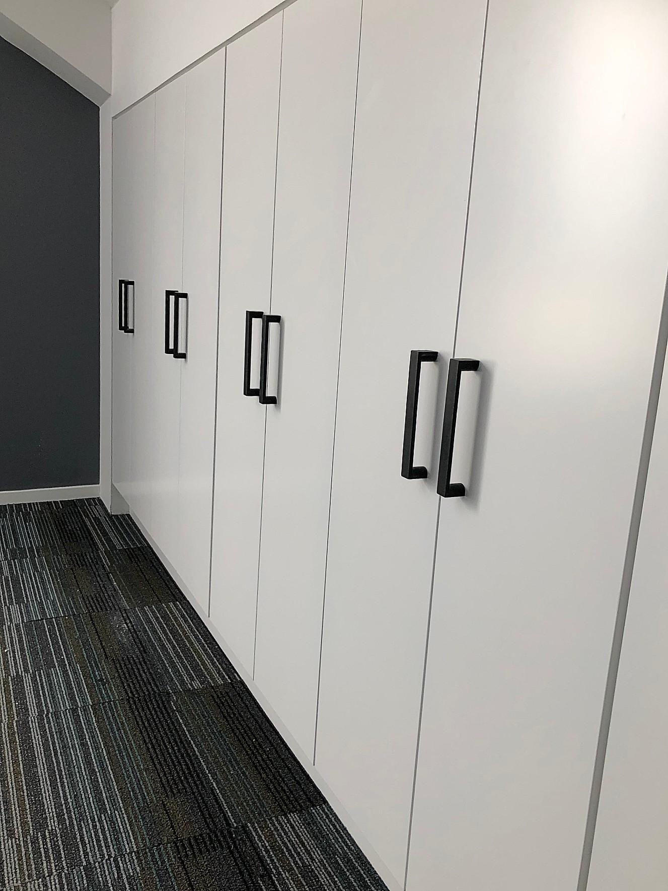 modern white uilt in cupboards with custom black handles
