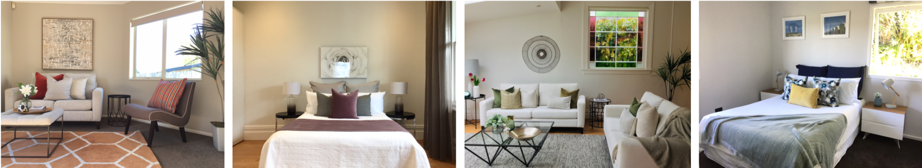 modern bedroom and living room styling