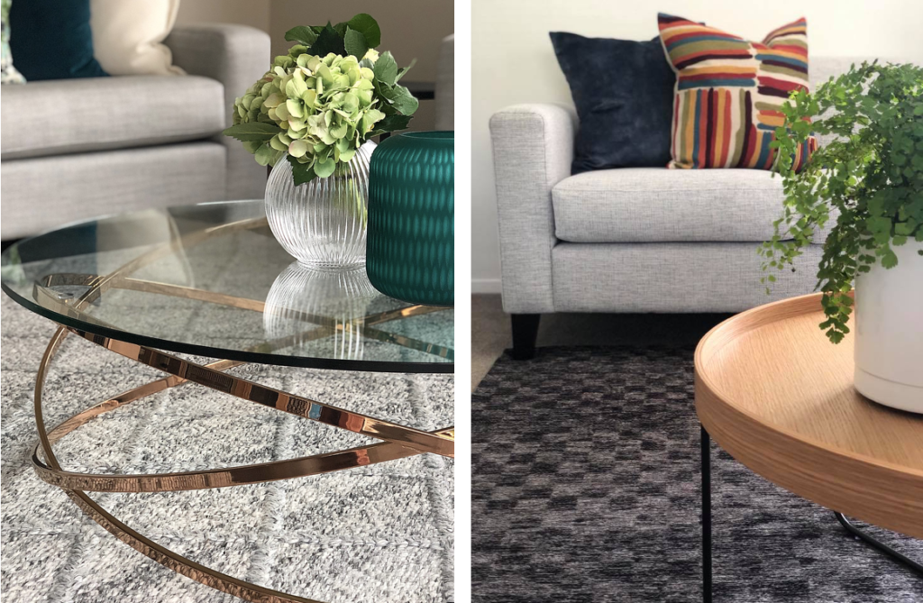 modern coffee tables with wood and glass and plants