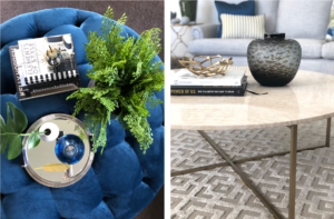 marble coffee table and blue velvet ottoman with coffee table books