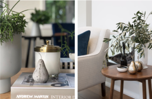 Modern coffee table styling with concrete pear and scented candles
