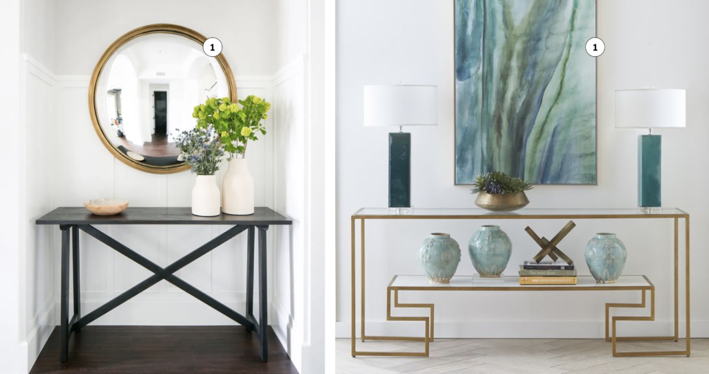 modern console tables with mirror and art above