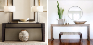modern console tables with lamps and plants