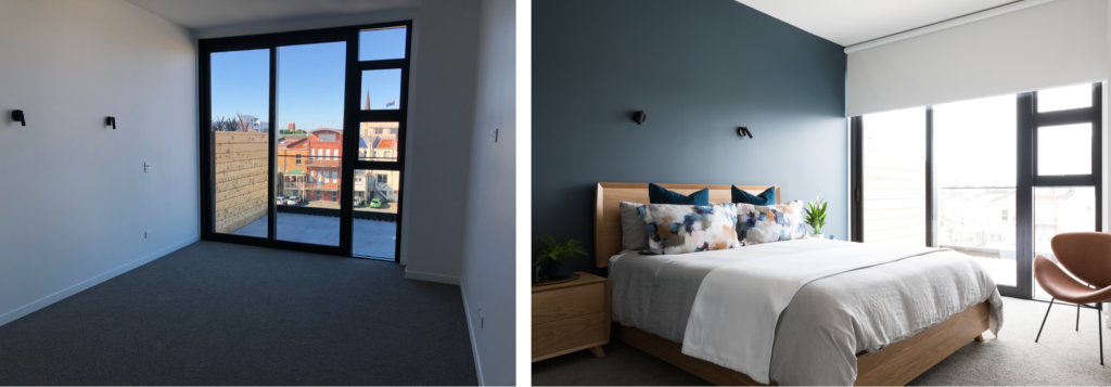 before and after modern luxury Auckland city fringe apartment interior design master bedroom style with custom furniture and blue feature wall