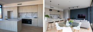 before and after modern luxury Auckland city fringe apartment interior design kitchen dining and living space with wood floors and light airy kitchen