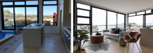 before and after modern luxury Auckland city fringe apartment interior design lounge dining space with wood floors and large windows
