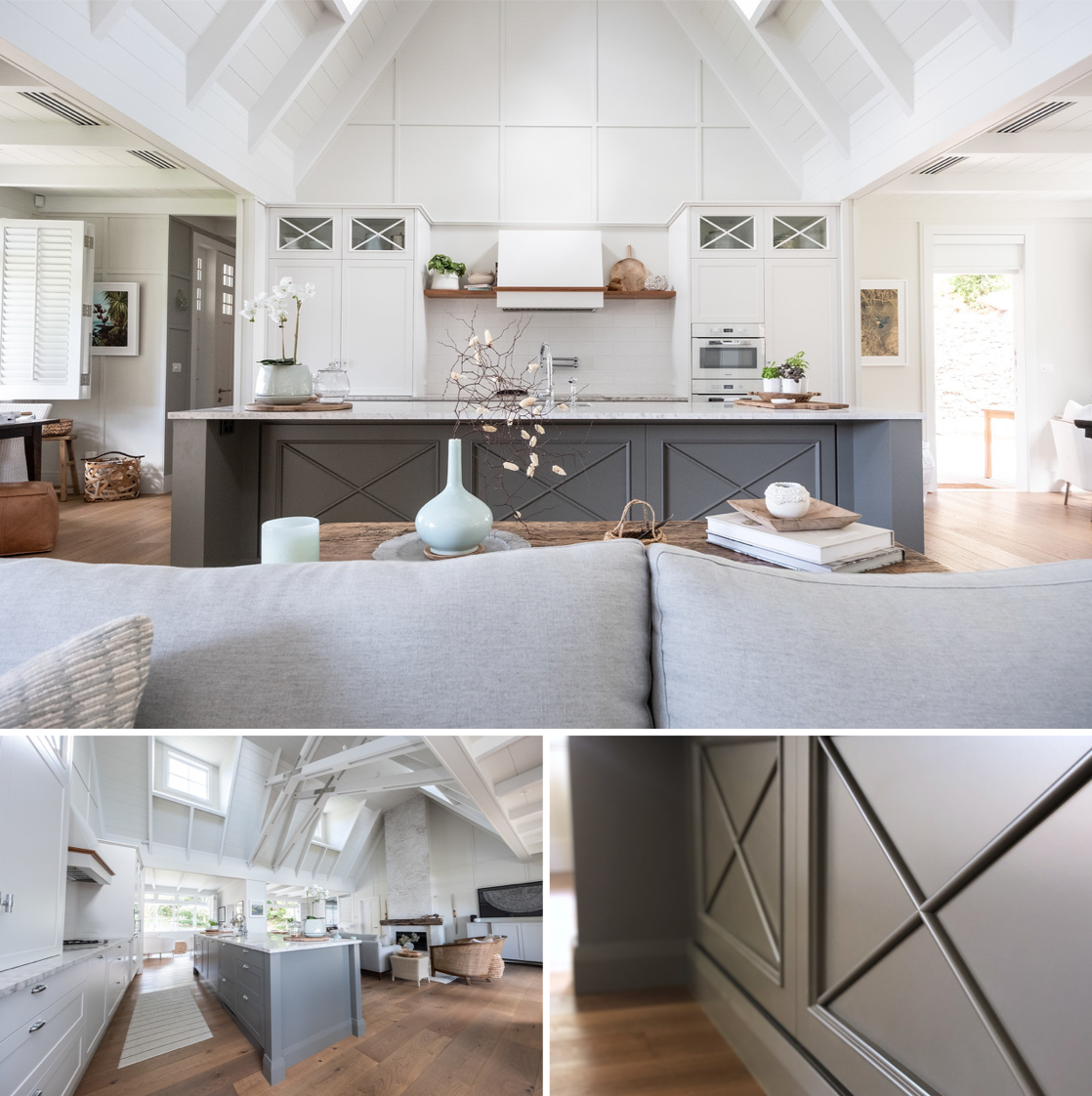 modern hamptons style kitchen with vaulted ceiling and panelling details
