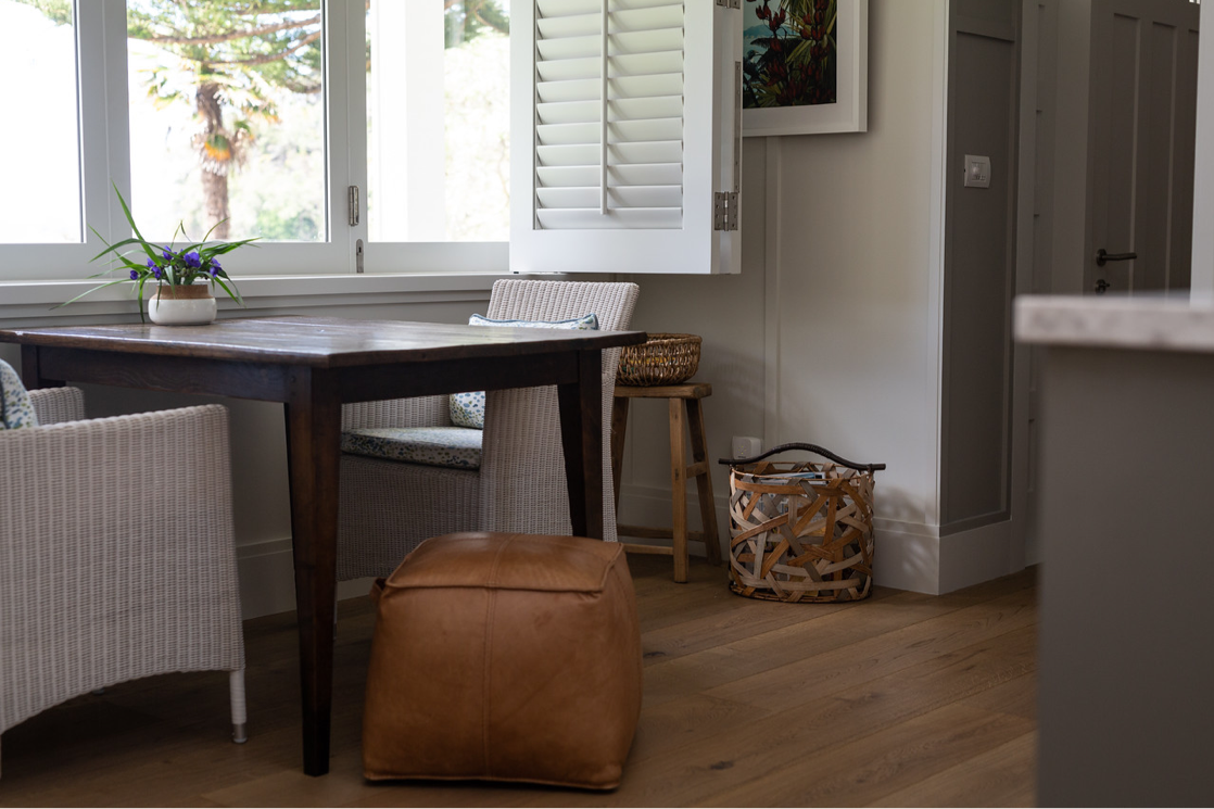 dining room nook with window shutters