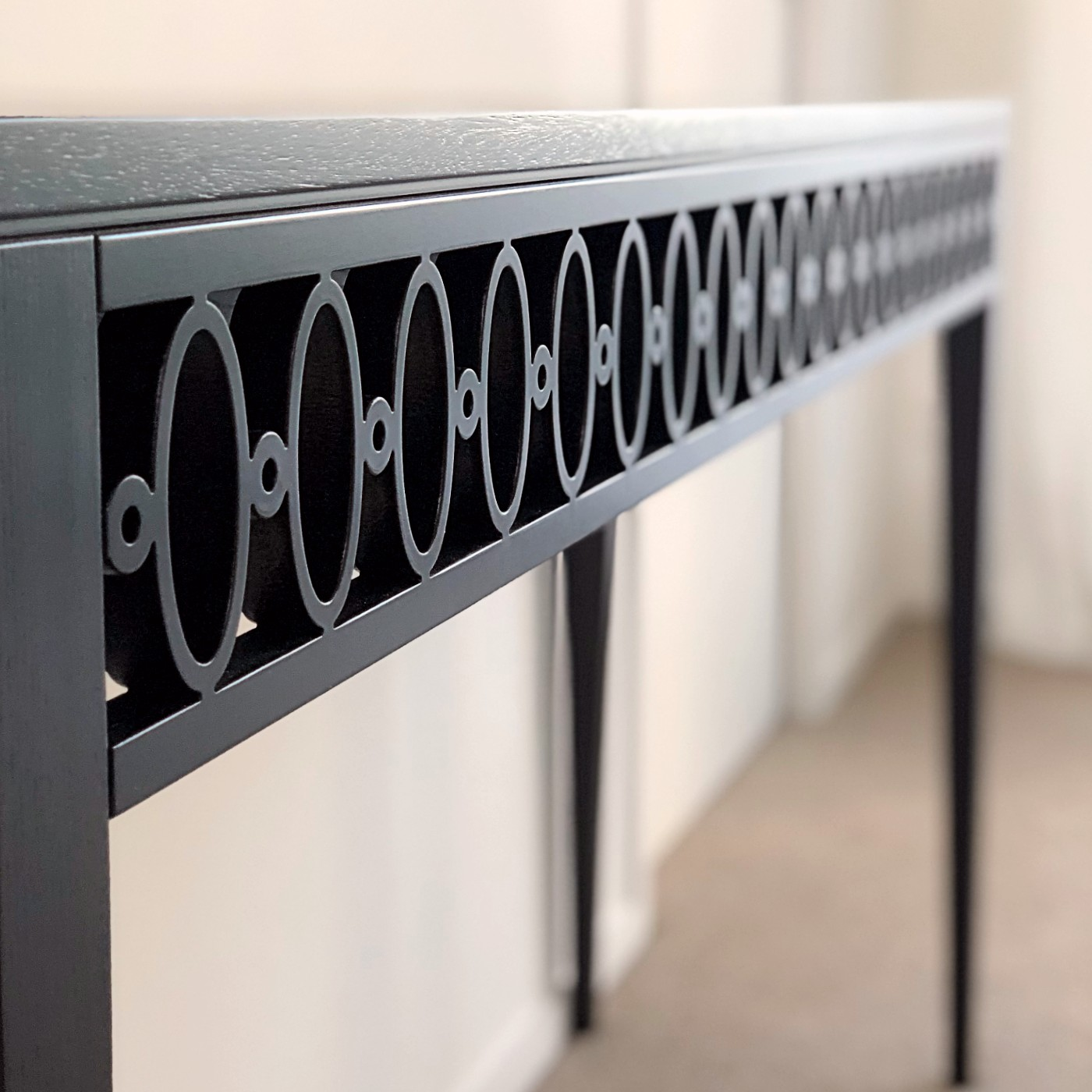 black table with side accessory