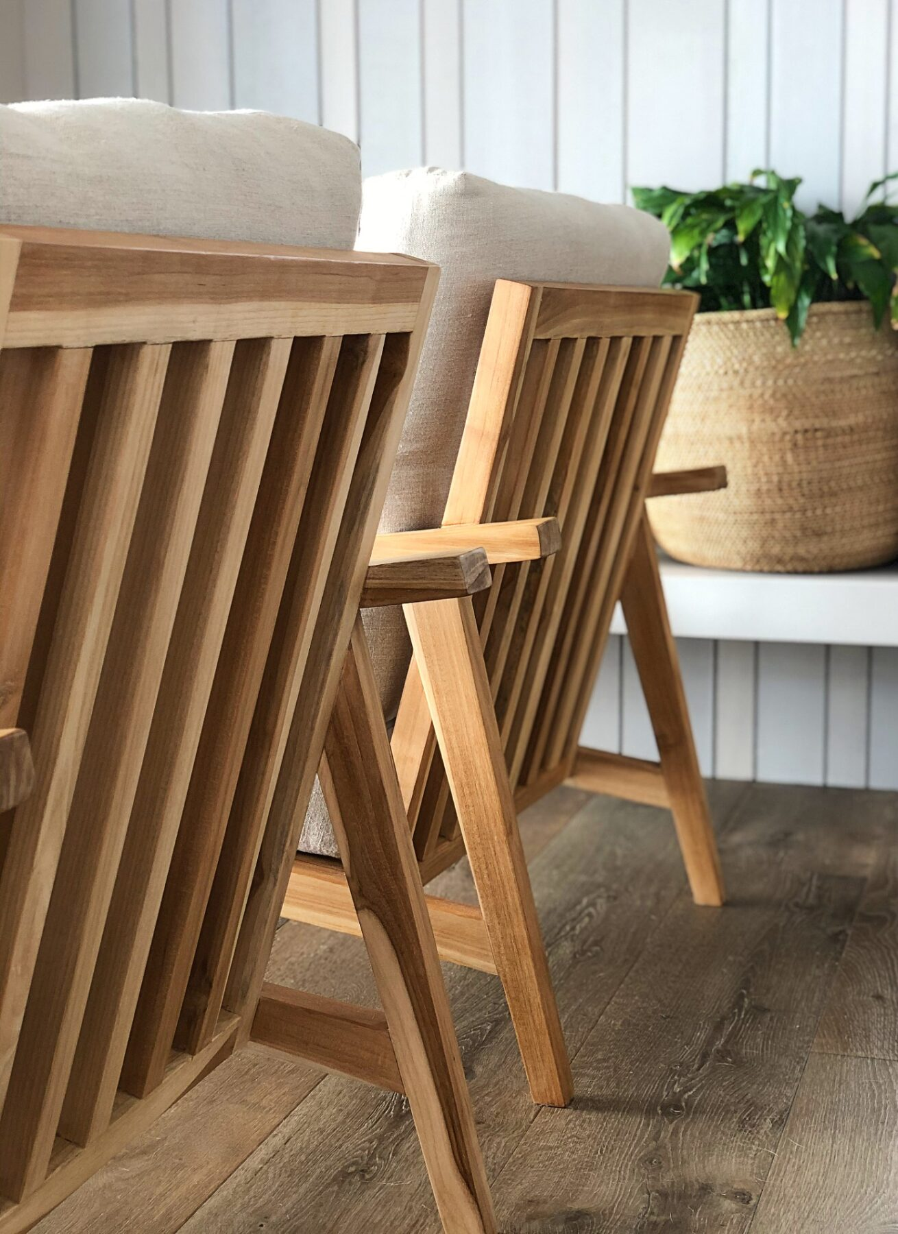 two decker chairs on wood floors