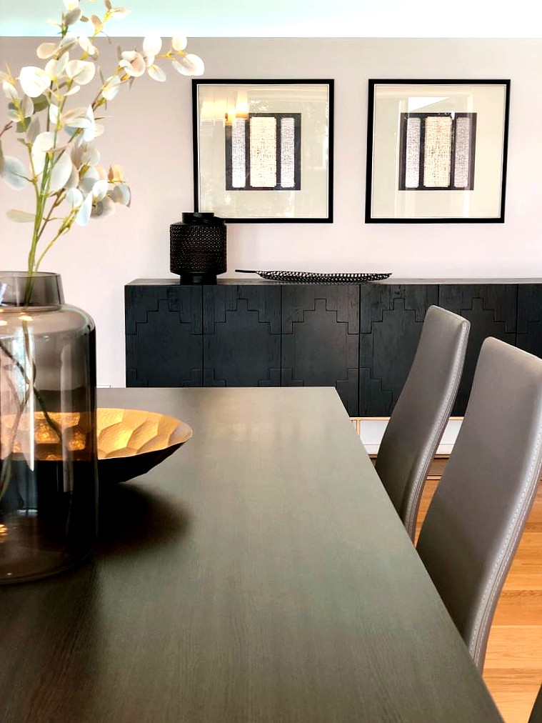 luxury home staging for high end home with designer dining room furniture