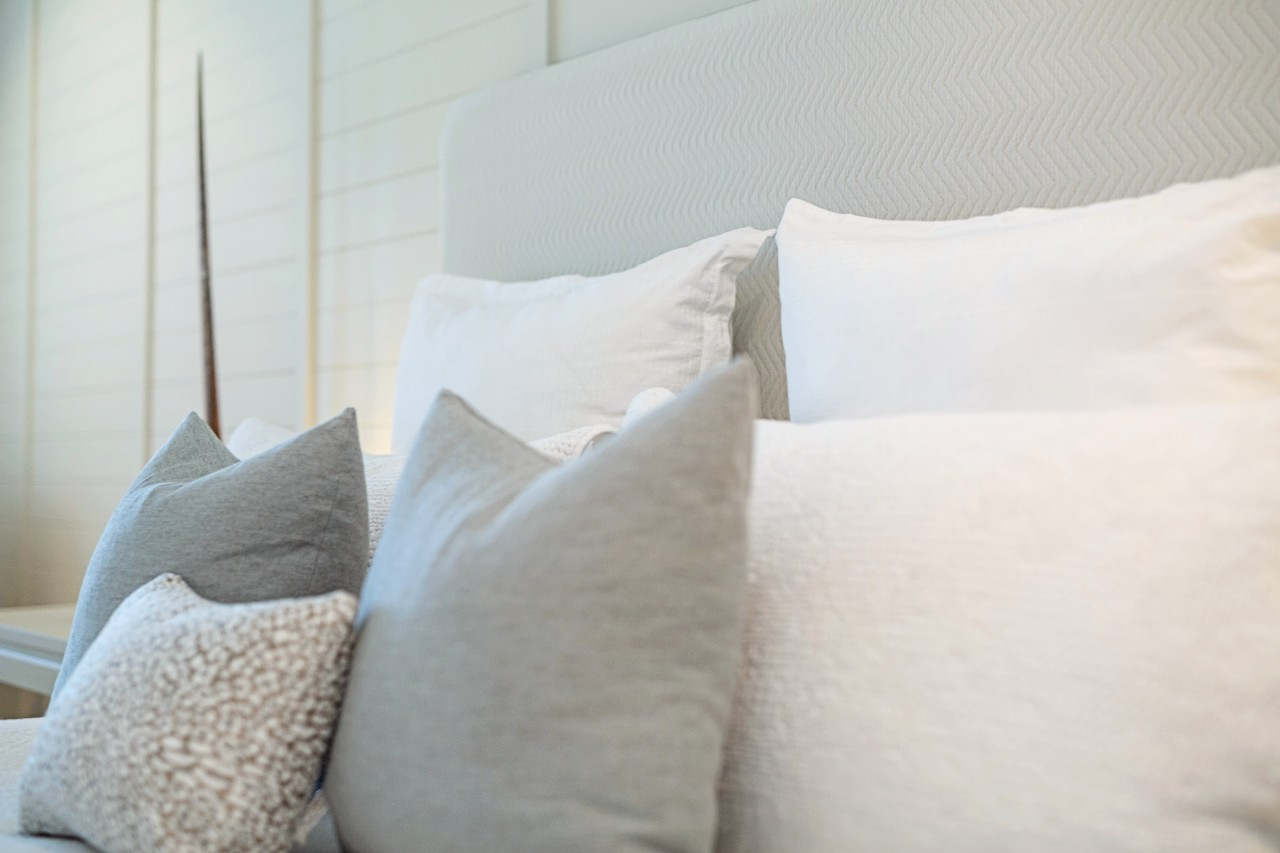 Soft palette bedroom with white, pale blue and texture