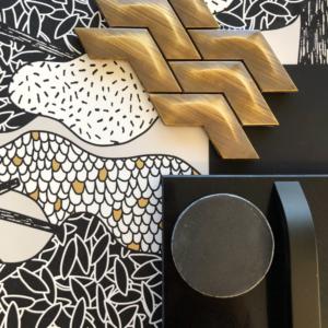interior design flatlay bathroom scheme with wallpaper, black and brass