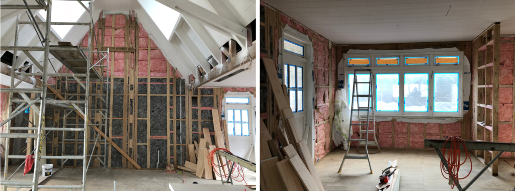 Interior Design in construction phase building site