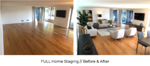 before and after full home staging of high end modern living room and dining room with contemporary furniture and custom styling