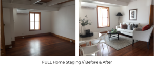 before and after traditional villa living and dining room home staging with modern styling