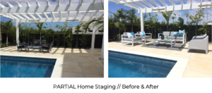 before and after outdoor staging with modern outdoor lounge furniture and custom cushions by the pool