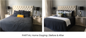 before and after luxury grand master bedroom with californian king bed styled with cushions and throws