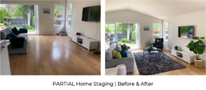 before and after bright and sunny living room with colourful cushions and styling