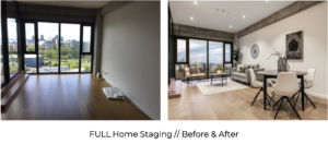 before and after luxury apartment full home staging with contemporary furniture and modern art living room and dining room