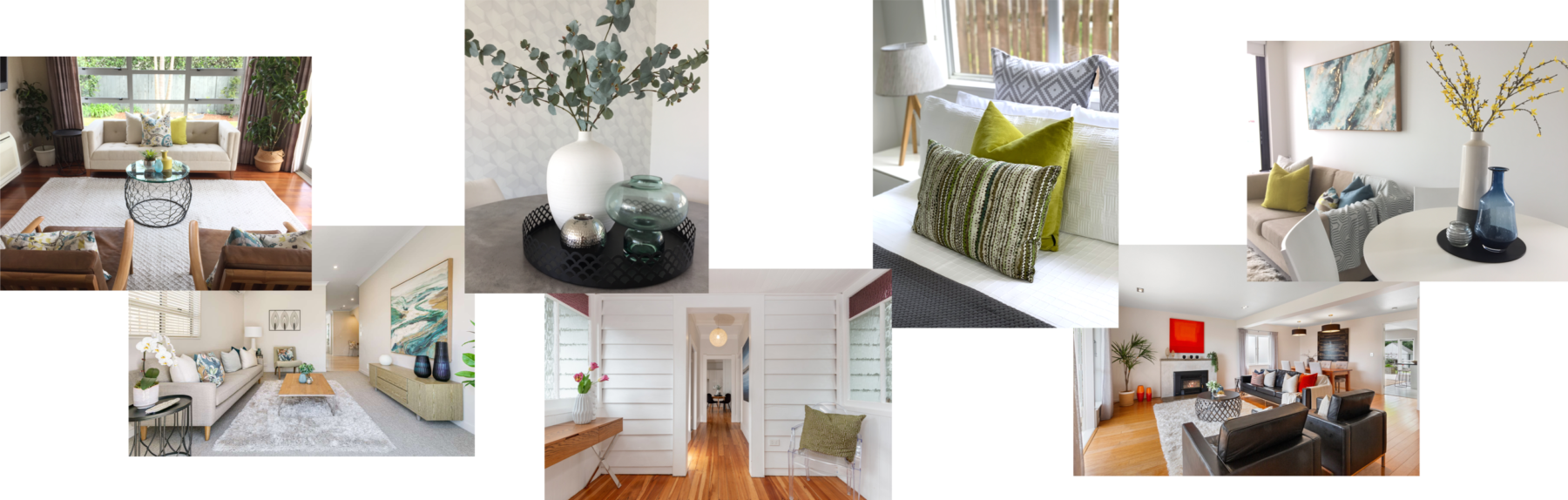 home staging modern contemporary colourful home styling with white linen and designer accessories