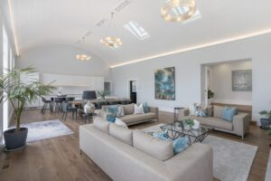 Cotter house 2 st vincent avenue grand family room former ballroom in soft blues with silver highlights luxury styling